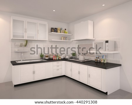 3D Rendering of kitchen pantry white interior illustration