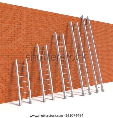 3d rendering of ladders on bricks wall, escape concept - stock photo
