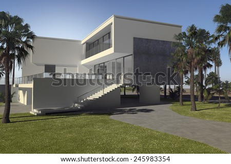 3D Rendering of Large luxury tropical villa with palm trees and a blocky multi-storey flat roof design with white walls and outdoor patios - stock photo
