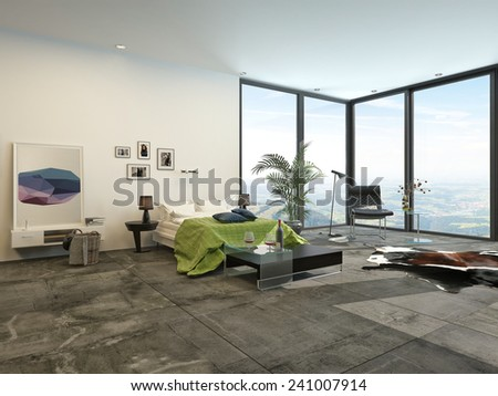 3D Rendering of Large spacious modern bedroom interior with view windows overlooking countryside and grey and white decor with green accents and artwork on the wall - stock photo