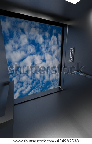 3D rendering of lift going up and opening to the sky - stock photo