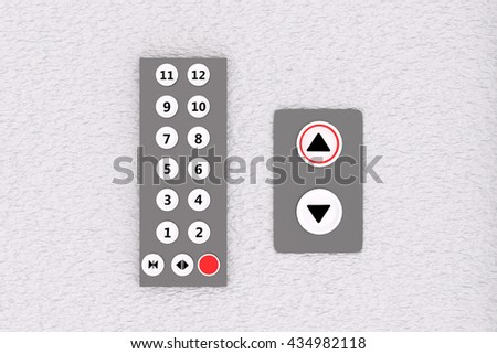3D rendering of lift panel and buttons on white wall - stock photo