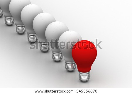3D rendering of light bulb, new idea concept