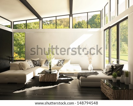 3D rendering of living room - stock photo
