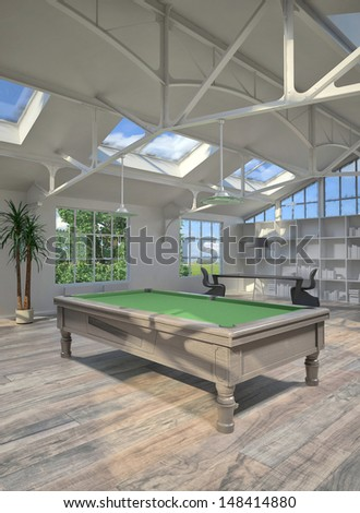 3d rendering of living room interior with Billiard table