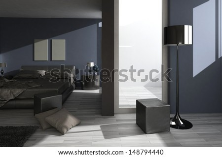 3D rendering of loft apartment interior - stock photo