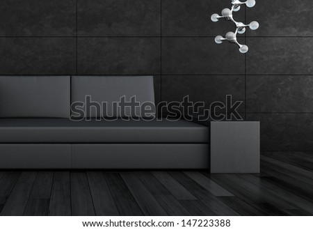 3D rendering of loft apartment interior with minimalist couch - stock photo