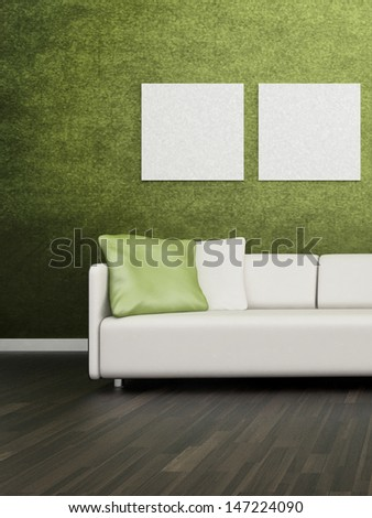 3D rendering of loft apartment interior with white couch against lime green wall - stock photo