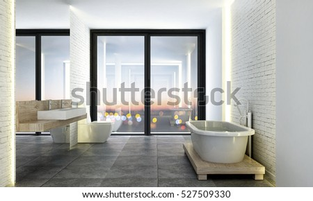 3D Rendering Of Loft Bathroom Design
