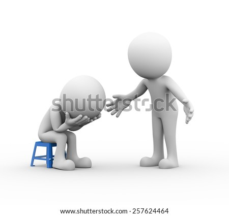 3d rendering of man consoling and comforting sad frustrated depressed man sitting on  stool. 3d white people man character.