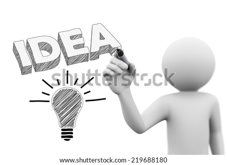 3d rendering of man drawing 3d word idea and bulb with marker on transparent glass screen. 3d white people character - stock photo