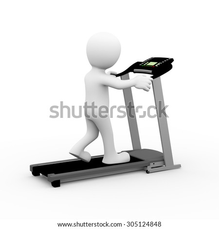 3d rendering of man exercising and walking on treadmill. 3d white person people man - stock photo