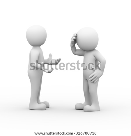 3d rendering of man having headache during fight on disputed problem. Concept of conflict and dispute between couple.  - stock photo