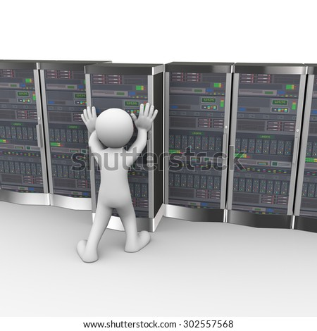 3d rendering of man pushing data server system in computer network datacenter room.  - stock photo