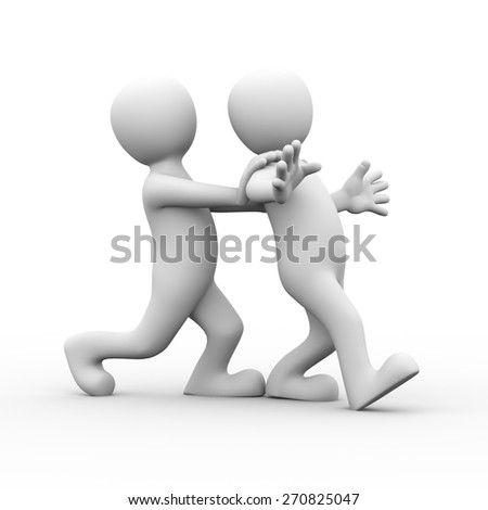 3d rendering of man pushing his friends for encouragement.  Concept of friendship, help, support, love. 3d white person people man