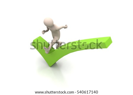 3d rendering of  man running the right sign