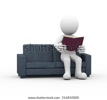 3d rendering of man sitting and reading book on couch.  - stock photo