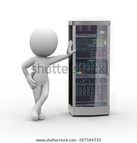 3d rendering of man standing with powerful network computer server system machine. 3d white person people man - stock photo