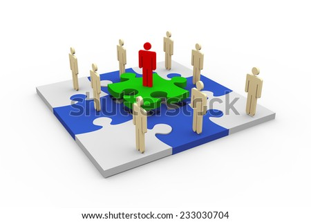 3d rendering of man symbols on puzzle. Concept of problem solution, team work, leadership. - stock photo