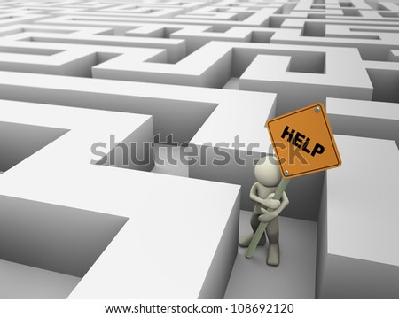 3d rendering of man trap in the maze holding help sign board, 3d illustration of human character - stock photo