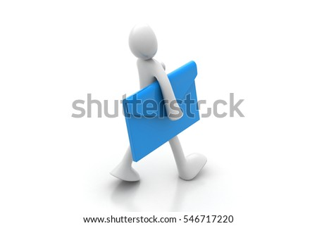 3D rendering of Man with letter in the hands