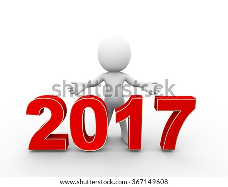 3d rendering of man with open arm gesture pose standing with new year 2017 . 3d white person people man. - stock photo