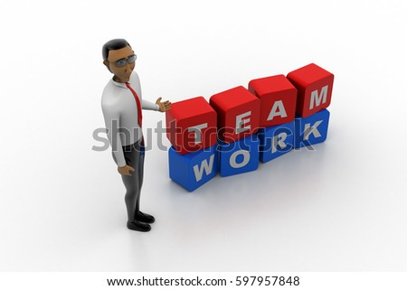 3d rendering of man with team work concept