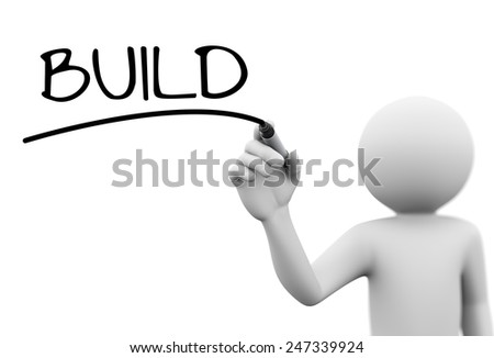 3d rendering of man writing build with marker on transparent glass screen. 3d white people character - stock photo