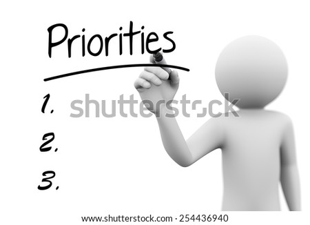 3d rendering of man writing priorities with marker on transparent glass screen. 3d white people character - stock photo