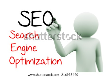 3d rendering of man writing seo search engine optimization with marker on transparent glass screen. 3d white people character - stock photo