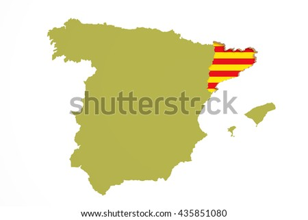 3d rendering of  map of Catalonia with Catalonia flag and Spain map - stock photo