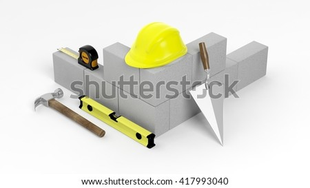 3D rendering of masonry tools and bricks, isolated on white background. - stock photo