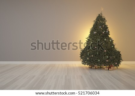 3d rendering of Merry X' mas tree on interior decoration empty room