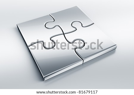 3d rendering of metal puzzle pieces on a reflective floor
