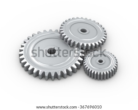 3d rendering of metallic cogwheel gears on white background