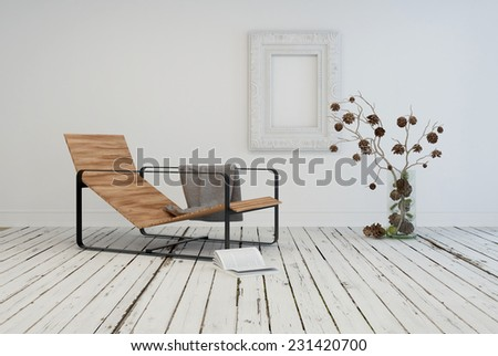 3D Rendering of Minimalist living area interior design with a contemporary slatted wooden recliner in a rustic white room with painted wooden floor and flower arrangement - stock photo