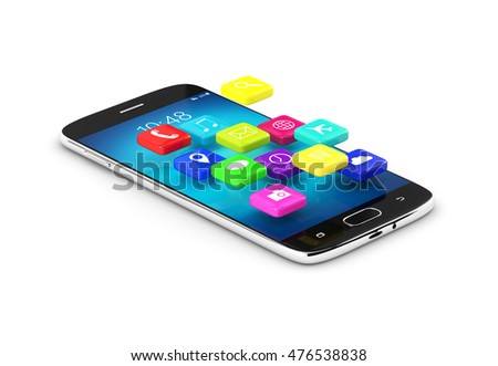 3d rendering of mobile phone with applications isolated on white background