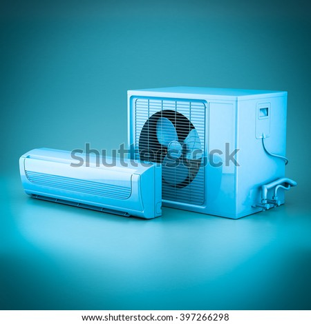 3D rendering of modern air conditioner on a blue background - stock photo