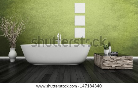 3D rendering of modern apartment interior - stock photo