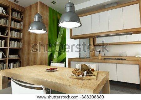 3D rendering of Modern apartment with an open plan kitchen - stock photo