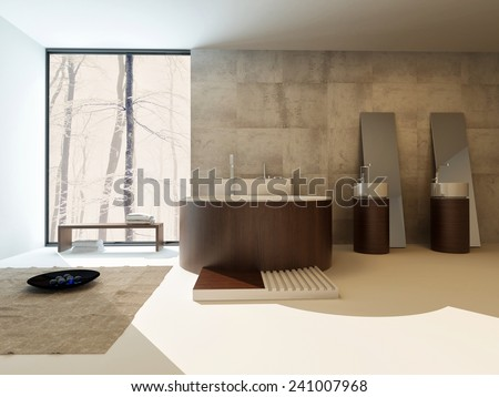3D Rendering of Modern bathroom interior with a circular brown suite with freestanding bathtub and hand basins against a travertine tiled wall with a large view window in an upmarket home - stock photo