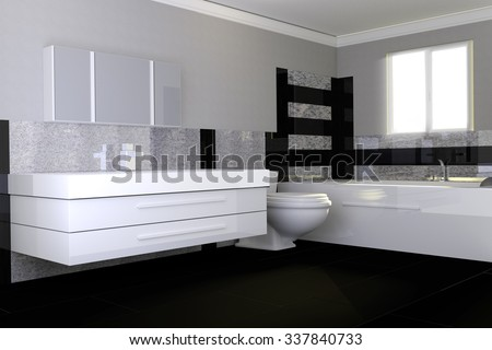 3d rendering of modern bathroom with black and white granite stone