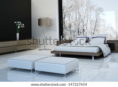 3D rendering of modern bedroom interior - stock photo