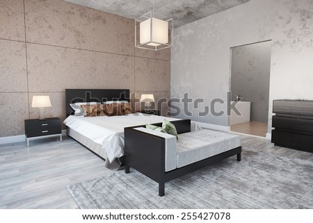 3D Rendering of modern Bedroom interior with a bed. - stock photo