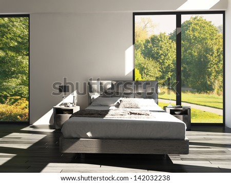 3d rendering of modern bedroom with floor to ceiling windows and landscape view - stock photo