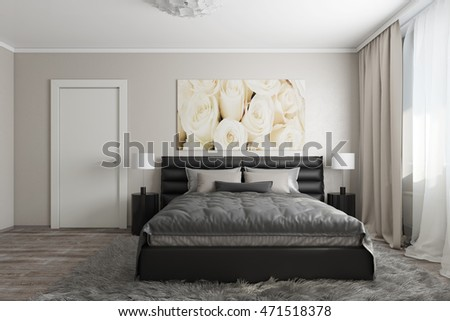 3D rendering of modern bedroom with wite roses