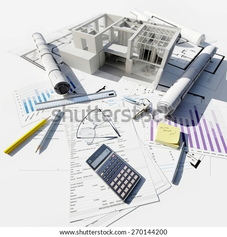 3D rendering of Modern building on top of blueprints and different documents - stock photo