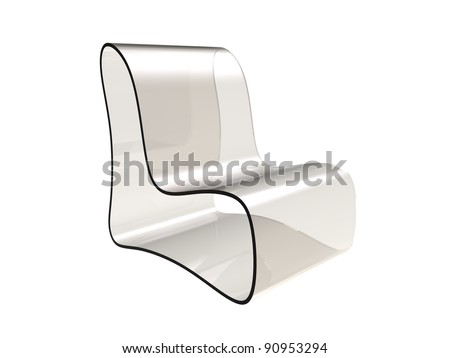 3d rendering of  modern chair made of transparent plastic isolated on a white background - stock photo