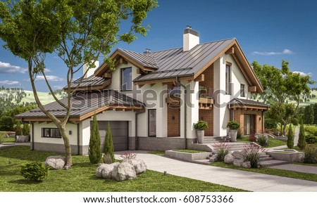 3 d rendering modern cozy house chalet stock illustration for Chalet style homes for sale
