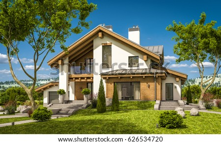 3d rendering cozy living room on stock illustration for Chalet style homes for sale